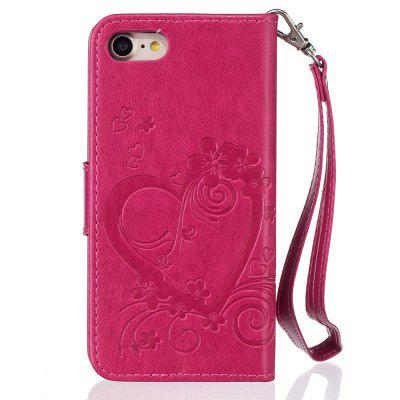 Imprint Heart Flower Wallet Leather Stand Cell Phone Cover with Magnet for iPhone 8 / 7 icarer wallet genuine leather phone stand cover for iphone 6s plus 6 plus marsh camouflage