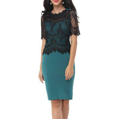 Hot Sale New Style Fashion Lace Party Parthwork Sexy Half Sleeve Pencil Dress hot sale sexy lace skirt backless women dress