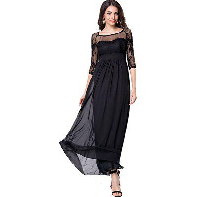 Fashion Summer New Style Elegant O Neck Lace Sleeve Fitted Women  Slimming Chiffon Long Split Maxi Long Dress