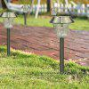 4PCS Stainless Steel 1-LED Solar Lawn Light Walkway Pathway Garden Lamp - WHITE LIGHT