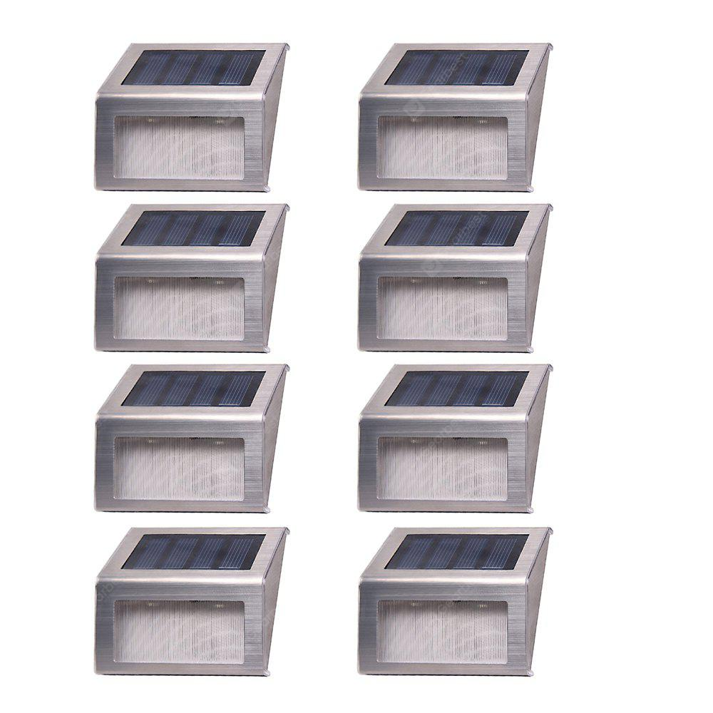 8PCS Solar Powered 2-LED Stainless Steel Staircase Step Light Stairways Path Landscape Garden Floor Wall Patio Lamp Modern Fixture
