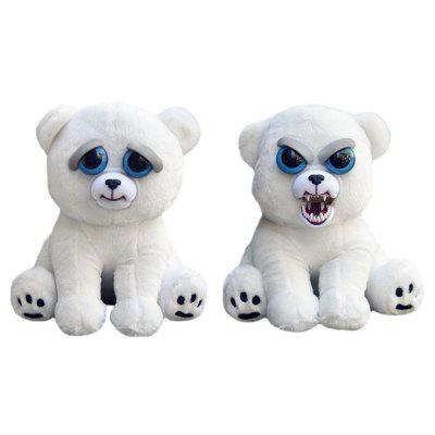 Snarl Adorable Plush Stuffed Polar Bear Toy with Face-changing Function