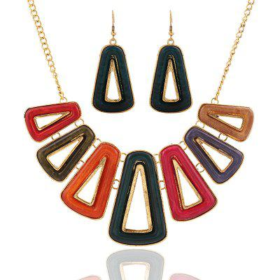 Colorful Geometric Triangle Sweater Earrings Necklace set