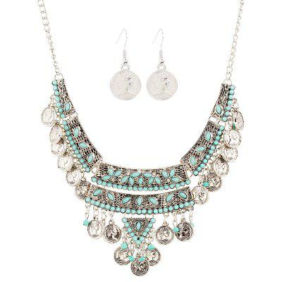 Turquoise Fringed Coin Head Beads Necklace Set
