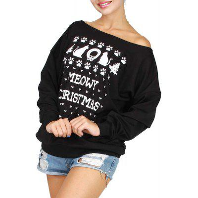 Christmas Edition Series of Printing Loose Shoulder with Cashmere  T-Shirt