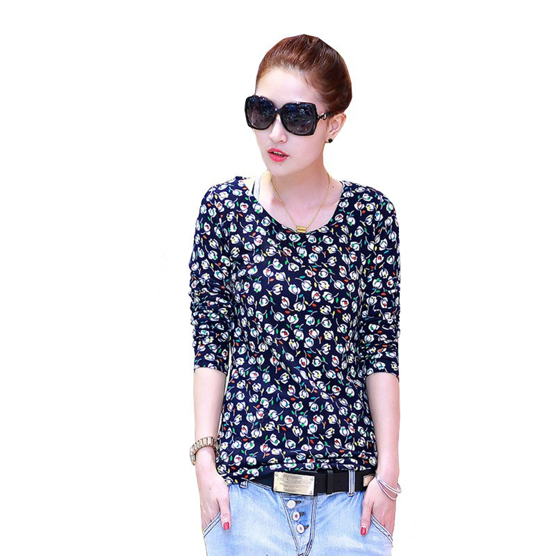 Women's Fashion Floral Wild Slim Long-Sleeved T-Shirt