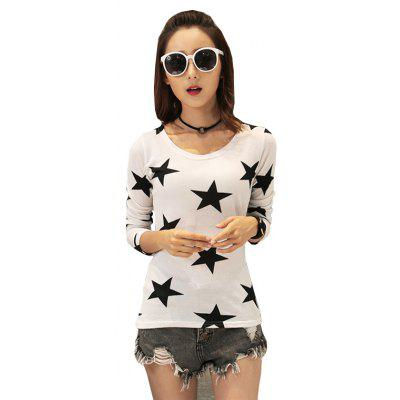Women's Fashion Pentagram Printing Wild Slim Long-Sleeved T-Shirt