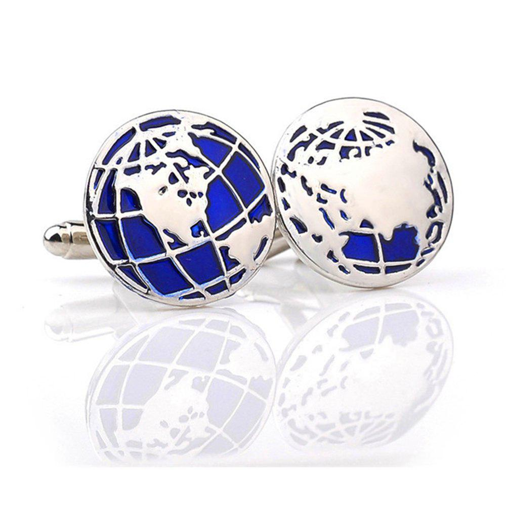 Men's Cufflinks Personality World Map Pattern Cuff Buttons Accessory