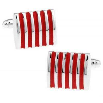 Men's Cufflinks Alloy Stripe Stylish Design Color Block Fashionable Cuff Buttons Accessory