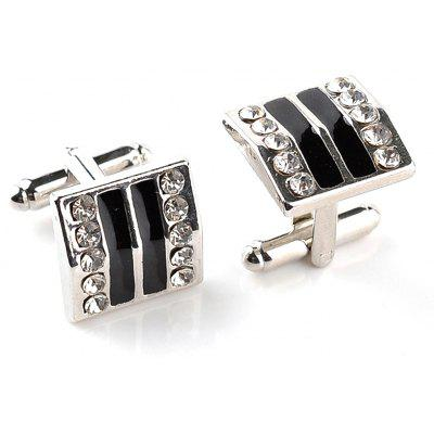 Men's Cufflinks Rhinestone Striped Alloy Plated Cuff Buttons Accessory