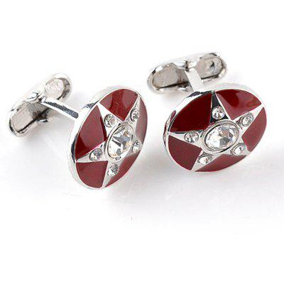 Men's Cufflinks Five-pointed Star Pattern Rhinestone Cuff Buttons Accessory