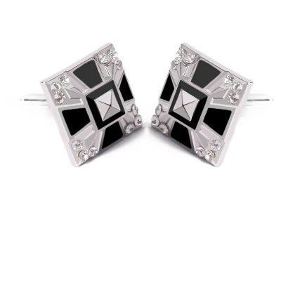 Men's Cufflinks Patchwork Color Geometrical Square Cuff Buttons Accessory
