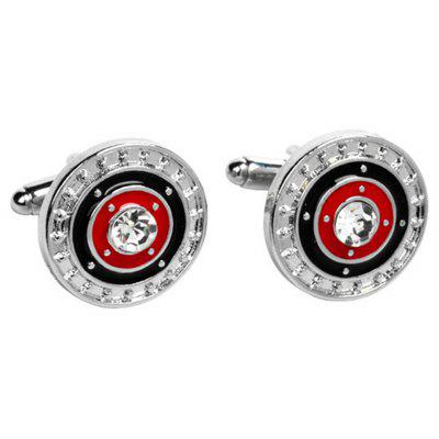 Men's Cufflinks Color Block Alloy Chic Round Cuff Buttons Accessory