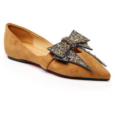 Women Fashion Casual Single Pointed Toe Comfortable Roman Flat Loafer Bowknot Shoes