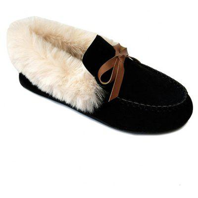 Women Autumn Winter Fashion Casual Warm Comfortable Roman Flat Loafer Fur Shoes