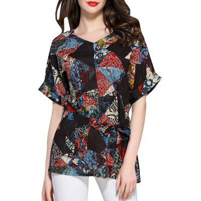 Ethnic boho Print Black Cotton Casual Blouse for Women Top