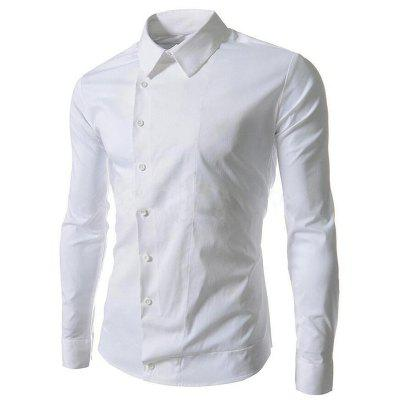 Men's Inclined Button Long Sleeves Casual Shirt