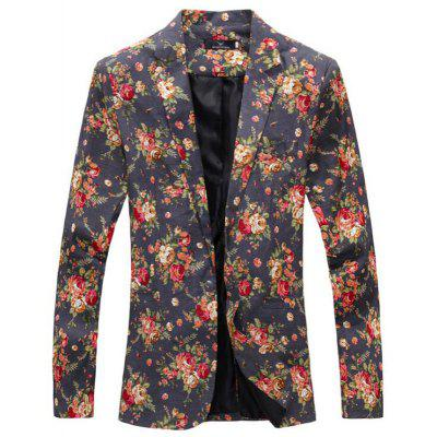 Men Floral Print Cotton Blend Casual Blazer