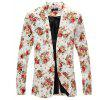 Men Floral Print Cotton Blend Casual Blazer - WARM WHITE