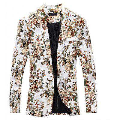 Men Blaze Floral Print Cotton Blend Blazer Jacket Men's Casual Suits