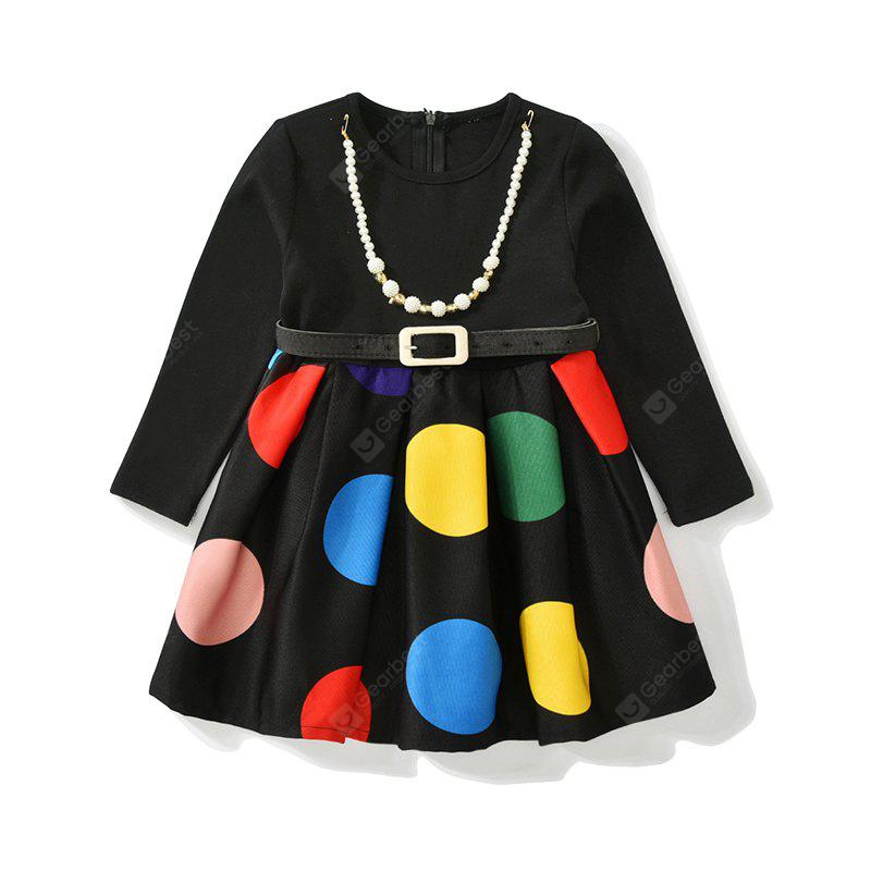 Autumn Winter Kids Long Sleeve Round Neck Dot Fashion Party Girls Dresses