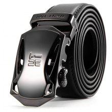 HAUT TON Embossing Leather Ratchet Belts with Automatic Adjustable Buckle