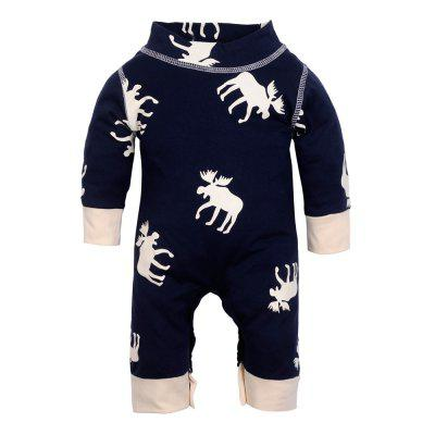 Newborn Infant Baby Romper Printed Jumpsuit Long Sleeves Cartoon Deer Outfits Clothes