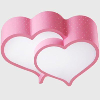 48W Warm Pink Color LED Double Heart Shape White Light Ceiling Lamp 220V