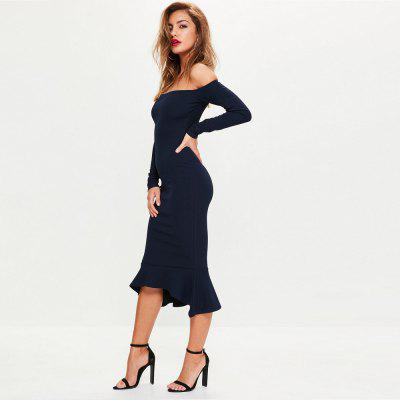 WomenS Sexy Boat Neck Solid Bodycon DressBodycon Dresses<br>WomenS Sexy Boat Neck Solid Bodycon Dress<br><br>Dresses Length: Mid-Calf<br>Elasticity: Elastic<br>Fabric Type: Cotton and kapok hemp<br>Material: Cotton Blend<br>Neckline: Slash Neck<br>Package Contents: 1 x Dress<br>Pattern Type: Solid<br>Season: Spring, Fall, Winter<br>Silhouette: Sheath<br>Sleeve Length: Long Sleeves<br>Style: Sexy &amp; Club<br>Waist: Natural<br>Weight: 0.4400kg<br>With Belt: No
