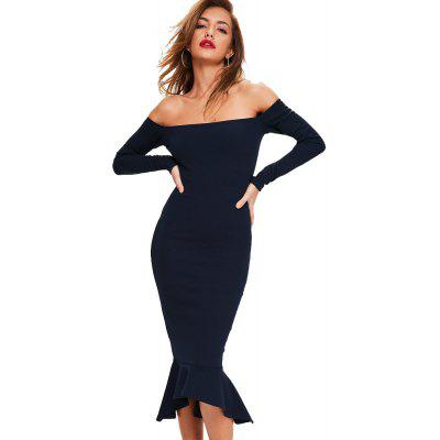 Women'S Sexy Boat Neck Solid Bodycon Dress