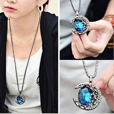 Female Fashion Gem Moon Long Necklace Pendant Necklace Sweater