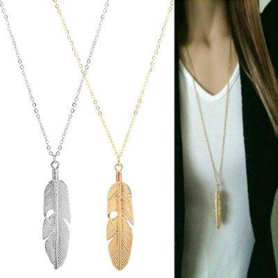 Fashion Women Jewelry Feather Pendant Chain Necklace Long Sweater Chain Statement Jewelry