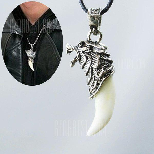 Mode antique argent Tribal blanc Stark Wolf Fang Tooth Boho pendentif collier