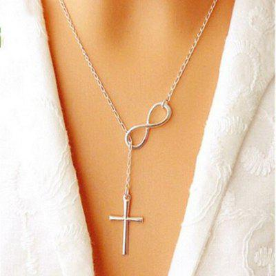 Ladies Fashion Elegant Silver Plated Cross Infinity Pendant Chain Party Necklace Size 51 Cm Color Silver