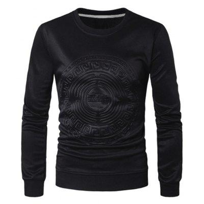 Buy BLACK 3XL Men Round Neck Totem Long Sleeves Sweatershirt for $26.20 in GearBest store