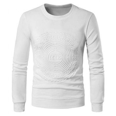 Buy WHITE L Men Round Neck Totem Long Sleeves Sweatershirt for $26.20 in GearBest store