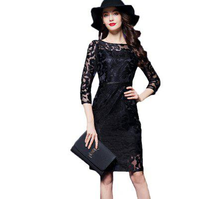 Women'S Gauze Embroidery with Long - Style Lace Dresses Plus Size