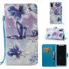 3D Painted Butterfly Leather Case for iPhone X - PURPLE
