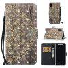 3D Painted Golden Flower Pattern Leather Case for iPhone X - GOLDEN