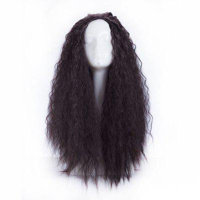 70cm Long Wavy Curly Natural Black High Quality Synthetic Hair Cosplay Wig for Party