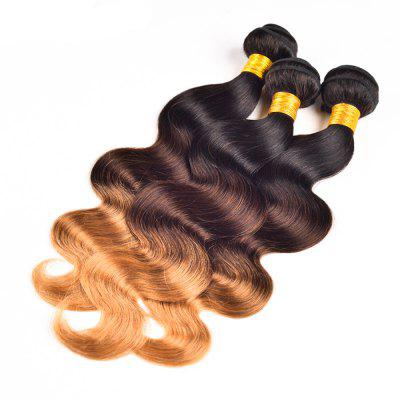 Ombre Color 3 Tone T1b / 4 / 27 Brazilian Body Wave Unprocessed Human Virgin Hair Extension 1 Bundle sexy hair formula 1 bundle of virgin brazilian body wave hair 1b 4 30 27 burgundy 2 three tone ombre brazilian hair weave 100g
