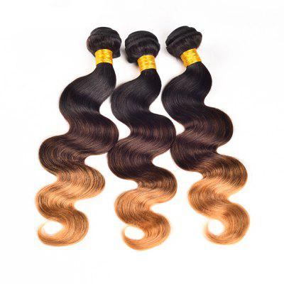 Buy GRADIENT COLOR 12INCH Ombre Color 3 Tone T1b / 4 / 27 Brazilian Body Wave Unprocessed Human Virgin Hair Extension 1 Bundle for $31.93 in GearBest store