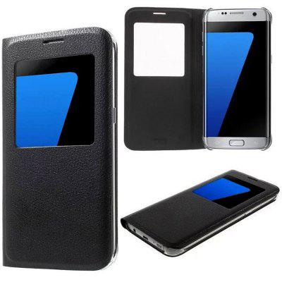 For Samsung Galaxy S7 Edge Litchi Grain Intelligent Window Full Protection Clamshell Case