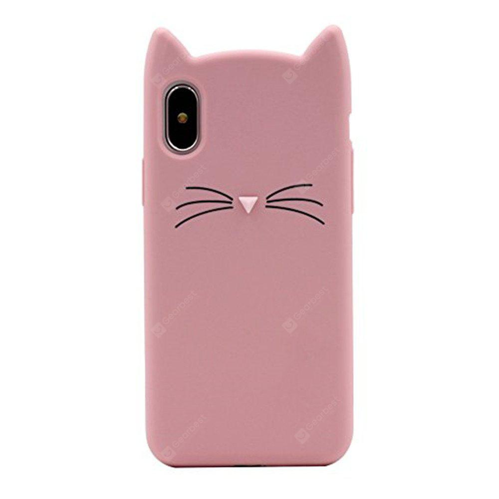 Caso para iPhone X Pattern Back Cover Cat Cartoon Soft Silicone