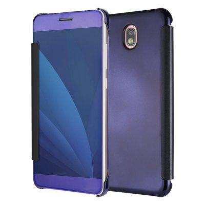 Leather + Hard Plastic Flip Plating Mirror Case for Samsung Galaxy J530 / J5 Pro Slim Phone Cover