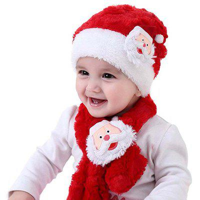 2017 Santa Hat and Scarf Sets for Kid Christmas Gift Winter Soft Warm Caps