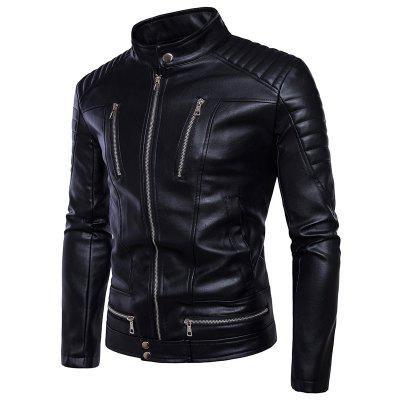 Men'S Clothing Slim Youth Handsome Leather Short Turn-Down Collar Fashion Jacket