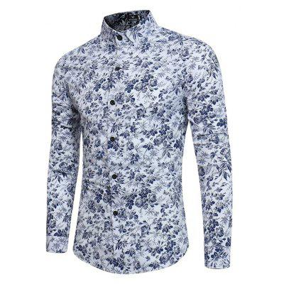 New Men'S Long Sleeves Printed  Floral  Beach  Night Clubs Shirts Autumn and Winter