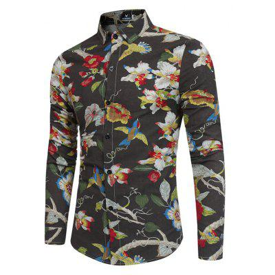 New Men'S Long Sleeves Printed  Floral  Beach Night Clubs Shirts