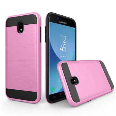 Metal Wiredrawing Soft TPU Hybrid Shockproof Hard Armor Case for Samsung Galaxy J3
